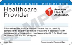 Image result for AHA Healthcare Provider CPR Card